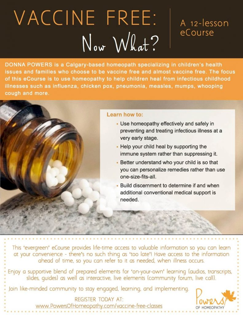 Vaccine Free: Now What? eCourse Evergreen Flyer